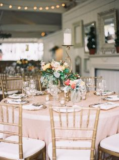 Golden candle stands and elegant glass arrangements combine for one utterly romantic table #cedarwoodweddings Electric Evening :: Leigh+Shawn | Cedarwood Weddings