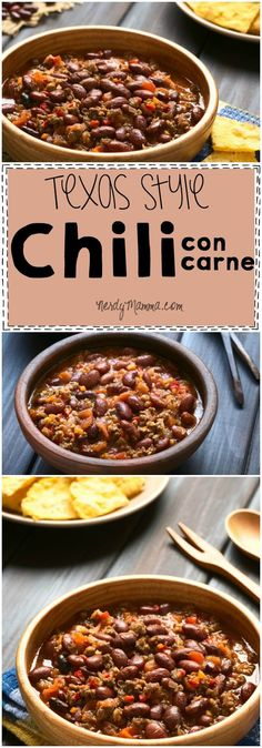 I love this recipe for Texas Style Chili con Carne. Which is just chili with meat, by the way! LOL!