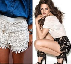 With everything vintage being all the rage, it only makes sense that this would include anything lace. There's just something about lace that makes every woman feel pretty. Currently the biggest lace trend.....lace shorts.