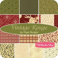 Vintage Rouge Fat Quarter Bundle  Faye Burgos for Marcus Brothers Fabrics  Vintage Rouge Fat Quarter Bundle includes 13 fat quarters  $41.99