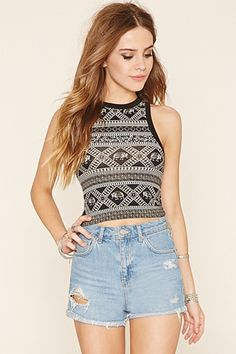 Buy it now. FOREVER21 Women's Black & Cream Abstract Print Crop Top. Crop Top, Elephant Print, Abstract Print , topcorto, bralet, strappybralet, bandeautop. Beige,black FOREVER21 crop top for woman.