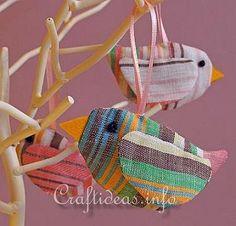 Fabric Birds Ornaments