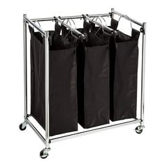 The Honey-Can-Do Easy Load Triple-Laundry Sorter features 3 removable durable polyester laundry bags with steel handles to help you take the chaos out of laundry day. The portable steel frame is on caster wheels so you can roll it where needed. Laundry Sorter, Laundry Hamper, Laundry Bags, Laundry Rooms, Tilt Out Hamper, Buy Honey, Doing Laundry, Space Furniture, Baby Clothes Shops