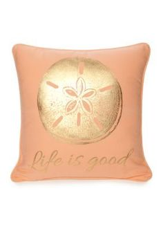 """Add instant nautical charm to the perfect room with this """"Life is Good"""" coral pillow."""