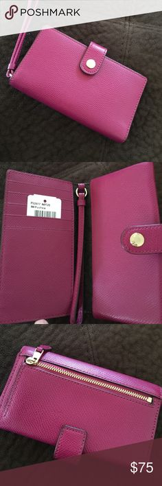 """Final price Coach fuchsia wallet wristlet NWT Brand new with tags. Fuchsia color cross grain leather and gold tone hardware • 2 interior multifunction slip pockets • 5 credit card slots • 1 rear zip pocket • Wrist strap • Designed to hold small electronics, including standard iPhones, Samsung Galaxy, Blackberry, and other mobile devices • Approx 6"""" (L) X 4""""(H) • Coach care card included Coach Bags Clutches & Wristlets"""