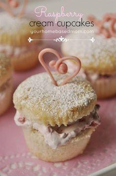The perfect Valentine treat! Raspbery Cream Cupcakes - your homebased mom