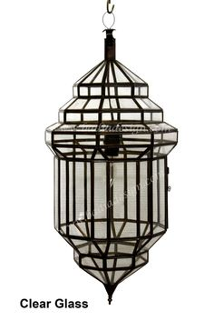 Moroccan Hanging Lantern with Clear and White Glass from Badia Design Inc. Stained Glass Chandelier, Tiffany Stained Glass, Pendant Chandelier, Ceiling Pendant, Pendant Lighting, Moroccan Hanging Lanterns, Moroccan Lighting, Hall Lighting, Entryway Lighting