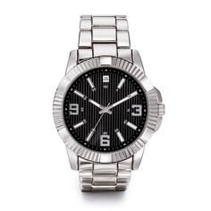 Men's silvertone watch with diamond accent at the 12 o'clock mark. Bezel of watch has ridges all the way around and the dial has black sandblast stripes. Regularly $50.00, shop Avon Products for Men online at http://eseagren.avonrepresentative.com