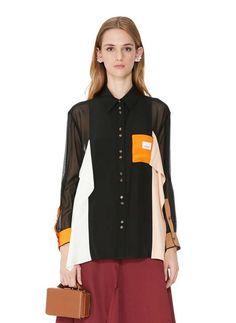 Topshop Boutique Pure Soie Années 80 Nœud Dos Orange Satin Chemisier Top UK 10 12 14 16