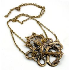 Steampunk Jewelry OCTOPUS Necklace Kraken Cthulhu Steampunk Goggles... ($45) ❤ liked on Polyvore featuring jewelry, necklaces, steampunk, accessories, steampunk jewelry, octopus necklace, pirate jewelry, steam punk jewelry and victorian jewelle