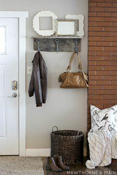 loving this barn wood coat rack and shelf. very simple yet functional!