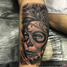 Day of the dead tattoo black and grey tattooist leg sleeve art
