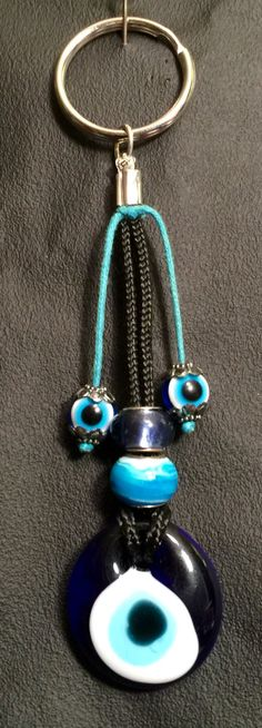 Greek Evil Eye keychain by WendysSpace on Etsy Greek Evil Eye, Glass Beads, Jewelry Making, Personalized Items, Eyes, How To Make, Crafts, Blue, Manualidades
