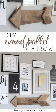 Wood Pallet Arrow Learn how to create this simple, rustic wood pallet arrow! It adds the perfect touch to a gallery wall!Learn how to create this simple, rustic wood pallet arrow! It adds the perfect touch to a gallery wall! Diy Pallet Projects, Home Projects, Pallet Ideas, Sewing Projects, Palette Deco, Wood Arrow, Rustic Wood, Diy Wood, Rustic Decor