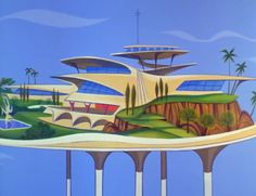 "Retro A Googie-inspired home of the future on The Jetsons (""Millionaire Astro"" originally aired: January - The futurist design movement that divided critics and and swept the nation with space age coffee shops Mid Century Art, Mid Century Design, Hanna Barbera, Studio Decor, Colani, World Of Tomorrow, Tomorrow Land, The Jetsons, Retro Futuristic"