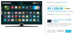 """Smart TV LED 40"""" Samsung UN40J5300AGXZD Full HD com Conversor Digital 2 HDMI 2 USB Wi-Fi 120Hz << R$ 162449 >>"""