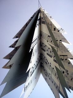 paper and music sheets- cut like tree - instead of gray maybe another color...