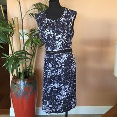 """Tory Burch Navy Floral Dress WORN ONCE - 38"""" bust, 38"""" long, 32"""" waist. Great navy and white shift piece, silk material with polyester lining. Comes with matching belt, navy band in the middle, adjustable silver snap enclosures. Tory Burch Dresses"""