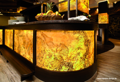 A restaurant made with the TRANSLUCENT real stone veneer from Slate-Lite. Used decor: Falling Leaves. Copyright of image: www. Decorating Blogs, Interior Decorating, Real Stone Veneer, Living Room Tv Unit Designs, Indoor Bar, Stone Bar, Onyx Marble, Best Interior Design, Commercial Design