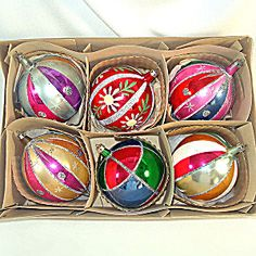 Box 6 Poland Jumbo Blown Glass Christmas Ornaments: these jumbo ornaments are getting increasingly difficult to find and I break at least one a year. :(