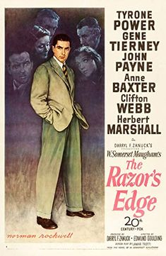 The Razor's Edge is a 1946 classic movie from Century Fox starring Tyrone Power, Gene Tierney, John Payne and Anne Baxter. Anne Baxter, Tyrone Power, Jackie Brown, Gene Tierney, Norman Rockwell, Pulp Fiction, Larry, Barry Lyndon, Alfred Newman