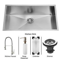 View the Vigo VG15077 Elongated Single Bowl 16 Gauge Stainless Steel Kitchen Sink with Strainer and Colander (VG3219C) and Single Handle Pull-Down Spray Kitchen Faucet with Soap Dispenser (VG02001) at Build.com.