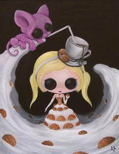 Lowbrow Sugar Fueled Alice in Wonderland Cat Sphynx Milk Cookies Tea Eat Me creepy cute big eye art print