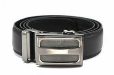 Men's Black Leather Belt with Gunmetal Buckle $8