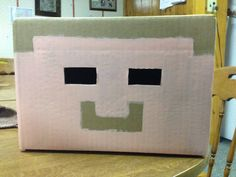 Making a Herobrine mask for my son for Halloween. So far I have the 1st coat of paint on it.