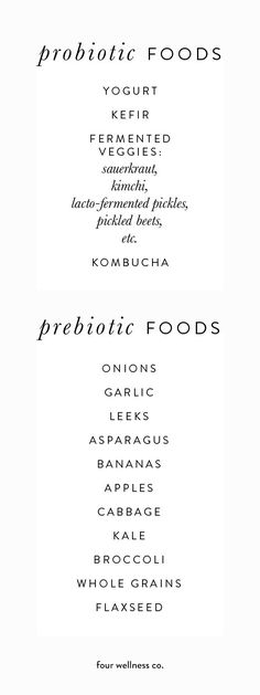 Why You Need Both Probiotics & Prebiotics // Four Wellness C.-Why You Need Both Probiotics & Prebiotics // Four Wellness Co. Why you need both probiotics & prebiotics // The health benefits of adding more probiotic and prebiotic foods into your diet. Diet And Nutrition, Nutrition Education, Health Diet, Health Fitness, Fitness Hacks, Nutrition Guide, Foods For Gut Health, Avatar Nutrition, Almonds Nutrition