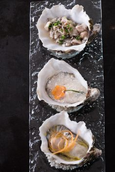 Restaurant Guy Savoy   Three Different Oyster Preparations. Presented By  #greygoose