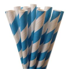 Retro Blue Striped Straws Pk 25