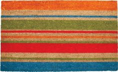 """Tag"""" Coir Door Mat *Multi Stripe by Tag. $18.36. *Multi stripe. 30"""" x 18"""" x 1"""". TAG"""" COIR DOOR MAT *Multi stripe *30"""" x 18"""" x 1"""" *Bleached coir printed with pigment dyes *Shake or brush clean *Natural grass border is ideal for scraping boots *Best maintained under protected area. Save 17%!"""