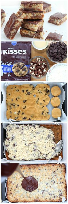 Bars How-To Bars made for both chocolate lovers and coconut lovers!Bars made for both chocolate lovers and coconut lovers! Cookie Desserts, Just Desserts, Cookie Recipes, Delicious Desserts, Dessert Recipes, Yummy Food, Cookie Bars, Cookie Dough, Eat Dessert First