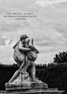 Cloud Atlas Quote - Fear, Belief, Love Print 5x7 Black and White Fine Art Photography Paris, love, edgy, statues via Etsy
