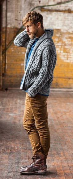 Gray Cable Knit Cardigan, and Tan Corduroy Jeans. Men's Fall Winter Fashion…