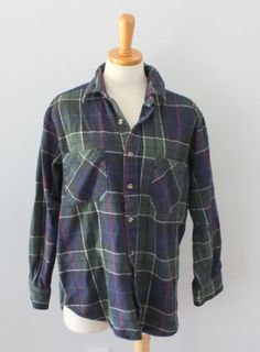 Vtg 90s Big Mac plaid Cotton flannel shirt soft Men L thick grunge lumberjack F3 #BigMac #ButtonFront