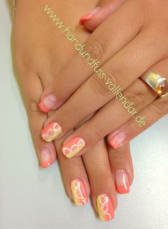 #pink #catherine #shellac #cnd #gel #strips #design #nailart #hand #Aquarell #handpainted #neon #orange #french #pastell #apricot #yellow