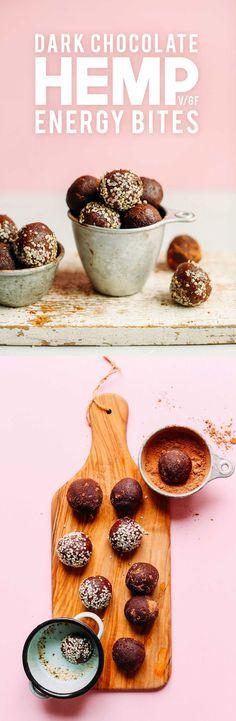 FUDGY Dark Chocolate Hemp Energy Bites! 7 ingredients, naturally sweetened, 4 G PROTEIN bite! #vegan #glutenfree #chocolate #hemp #energy #recipe #minimalistbaker