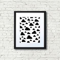 Clouds Black and White Print Wall Art Home Decor by ButterInkAndCo