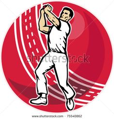 vector illustration of a cricket player bowler bowling with cricket ball in background isolated on white - stock vector #cricketbowler #retro #illustration