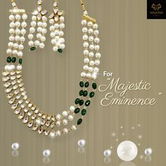 The beauteous design of this magnificent Jewellery set speaks volumes of its craftsmanship. The fusion of pearl kundan and green beads make it truly majestic. Contact Maarya Jewels at +91-9810833221. #MaaryaJewels #wedding #ethnic #jewellery #fashion #stylish #designer