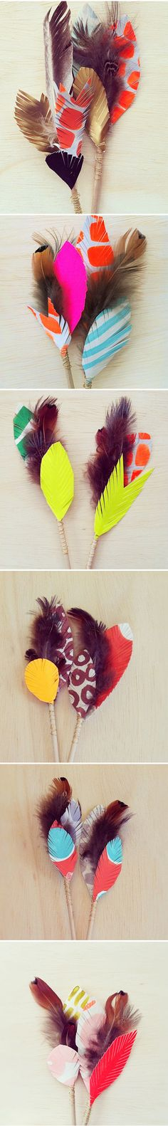 paper feathers.... / wonderful color combos.