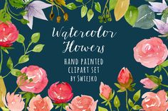 watercolor roses, wedding clipart by swiejko on Creative Market