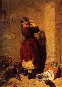 'Little Girl Playing' Nikolaos Gyzis ( Greek Munich, Greek Paintings, Greek Art, Chiaroscuro, Gustav Klimt, Art And Illustration, Figure Painting, Painting Art, Love Art