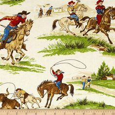 Cowboys Rodeo Fabric Roping Fabric Ride Em by thebusybeequilting