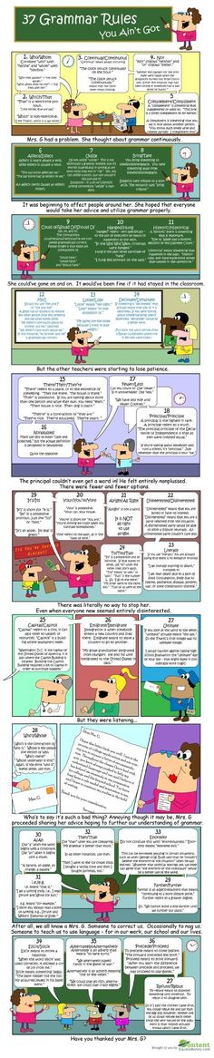 Grammar tips + advice: 37 Grammar Rules You Ain't Got. Grammar Tips, Grammar And Punctuation, Grammar Rules, Teaching Grammar, Grammar Lessons, Teaching Writing, Writing Skills, Teaching Tools, Teaching English