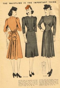 McCall Style News, December 1939 featuring McCall 3492 and 3491