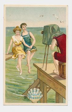 vintage postcard  bathing beauty and her beau by mudintheUSA, $7.50