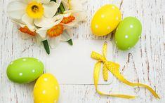 Indir duvar kağıdı Mutlu Paskalya, bahar dekorasyon, Nergis, Paskalya yumurtaları, etiket, tebrik kartı şablonu, Paskalya